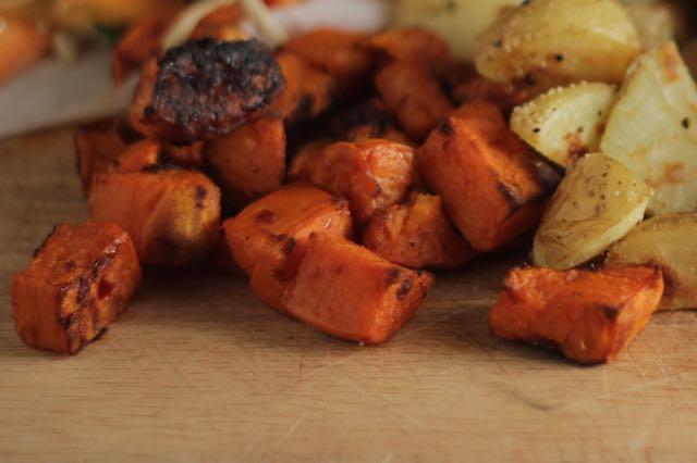 Harissa Roasted Sweet Potatoes