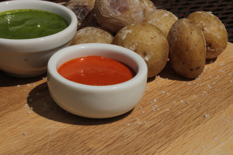 Red & Green Mojo Sauces with Papas Arrugadas