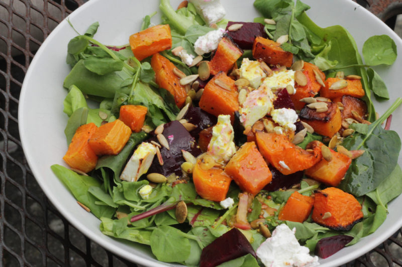 Warm Butternut Squash, Beet and Goat Cheese Salad