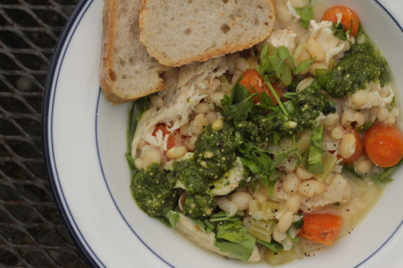 Chicken with White Beans and Pesto
