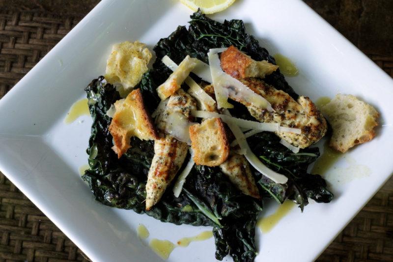 Grilled Kale Caeser Salad