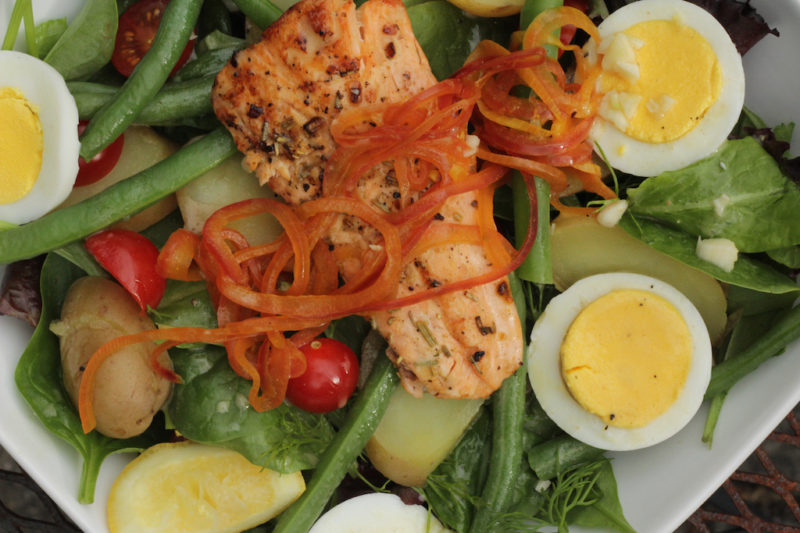 Grilled Salmon Nicoise Salad - Healthy Mama Cooks