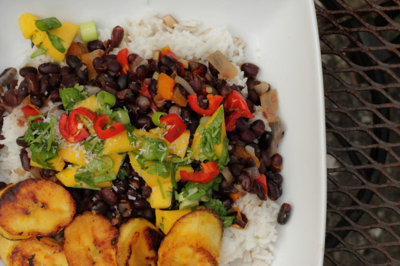 Caribbean Black Beans with Fried Plantains