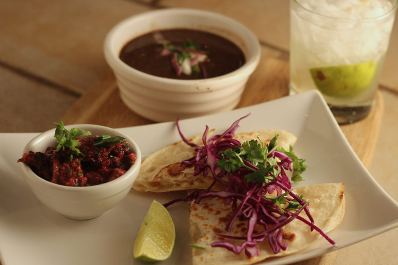 Turkey Quesadillas with Cranberry Salsa and Easy Black Bean Soup