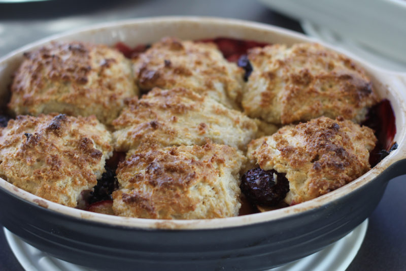 Plum and Blackberry Cobbler