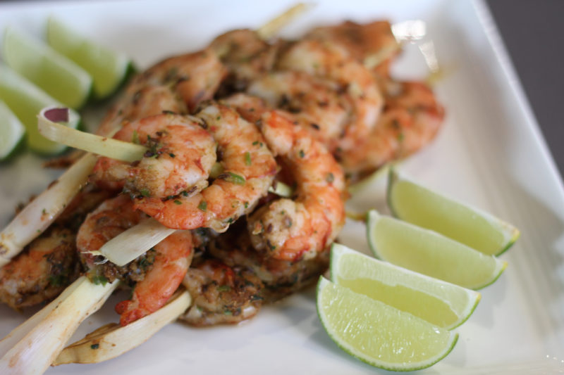 Lemongrass Spicy Shrimp Skewers