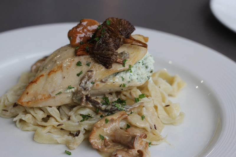 Stuffed Chicken Breast with Wild Mushrooms and Homemade Caraway Noodles