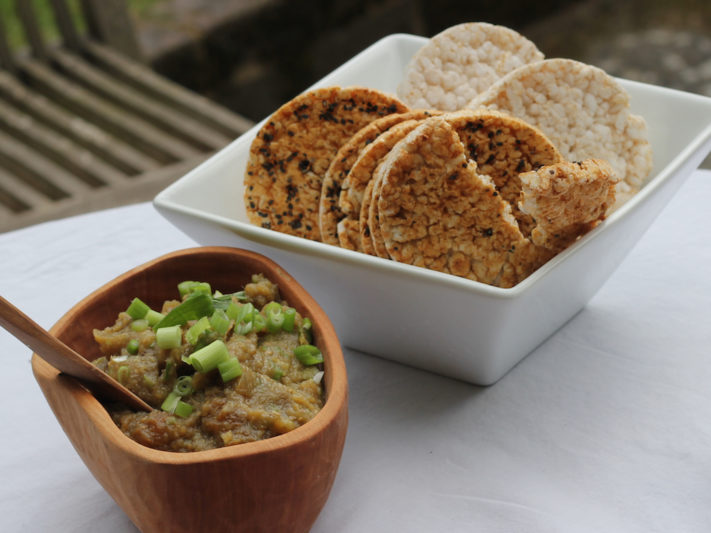 Asian Eggplant Dip with Rice Crackers