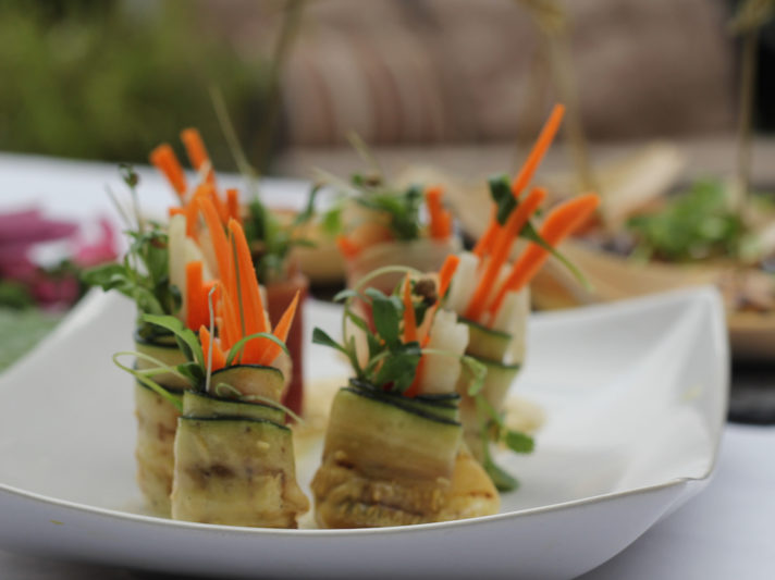 Zucchini Wrapped Asian Vegetables with Wasabi Aioli