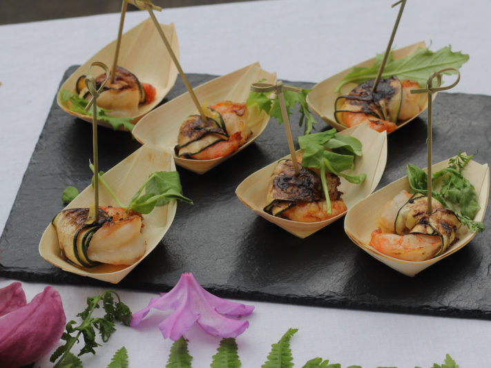 Zuchinni Wrapped Shrimp with Citrus Vinagrette